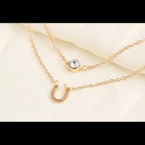 Layered horseshoe necklace, fashion jewelry